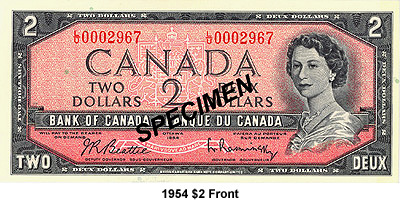 The 1954 Notes Were Printed By Canadian Bank Note Company And British American Banknote Imprint Of Companies Are Located At