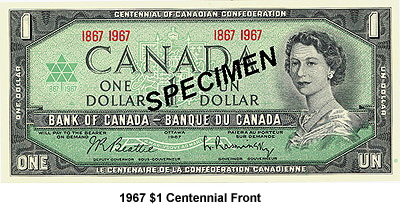 UNC 1867-1967 CANADIAN 1 DOLLAR NOTE VERY NICE CRISP